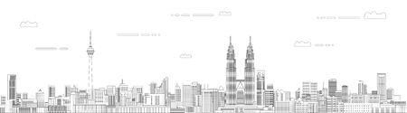 Kuala Lumpur cityscape line art style vector illustration. Detailed skyline poster