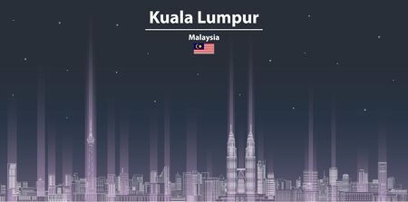 Kuala Lumpur cityscape at night line art style vector illustration. Detailed skyline poster