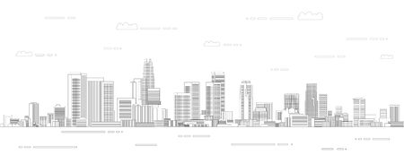 Los Angeles cityscape line art style vector poster illustration. Travel background