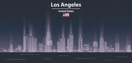 Los Angeles cityscape at night line art style vector poster illustration. Travel background