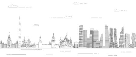 Moscow cityscape line art style vector poster illustration. Travel background