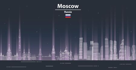 Moscow cityscape at night line art style vector poster illustration. Travel background Illustration