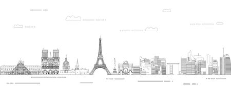 Paris cityscape line art style vector illustration. Detailed skyline poster