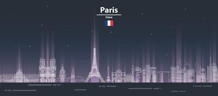 Paris at night cityscape line art style vector illustration. Detailed skyline poster