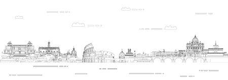 Illustration d'affiche de vecteur de style d'art de ligne de paysage urbain de Rome. Fond de voyage