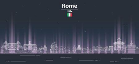 Rome at night cityscape line art style vector poster illustration. Travel background Stock Illustratie