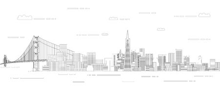 San Francisco cityscape line art style vector poster illustration. Travel background