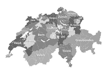 Switzerland vector map colored by cantons with districts boundaries Stock Illustratie