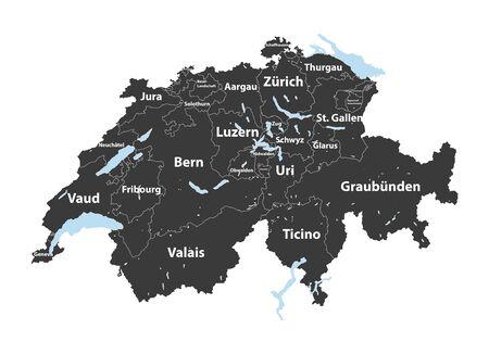 Swiss cantons detailed vector map Stock Illustratie