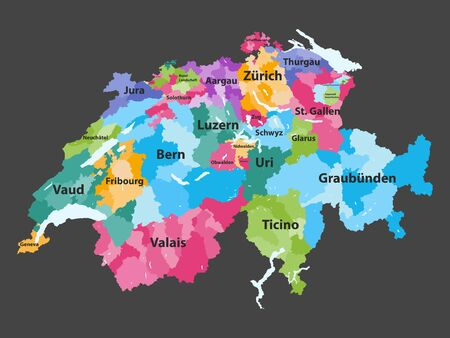 Switzerland vector map colored by cantons with districts boundaries Illustration