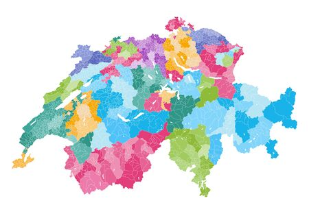 Swiss vector map showing cantons, districts and municipalities borders.
