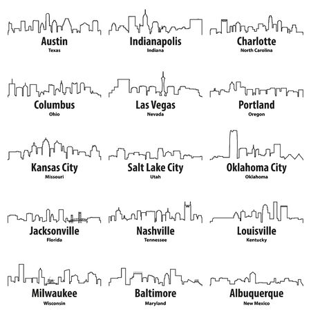 United States cities skylines vector outline icons set Stock Illustratie