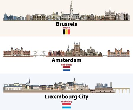 Skylines illustrations of Brussels, Amsterdam, Luxembourg City. Flags of Benelux countries: Belgium, Netherlands, Luxembourg.