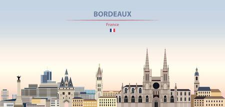 Vector illustration of Bordeaux city skyline on colorful gradient beautiful daytime background Vecteurs