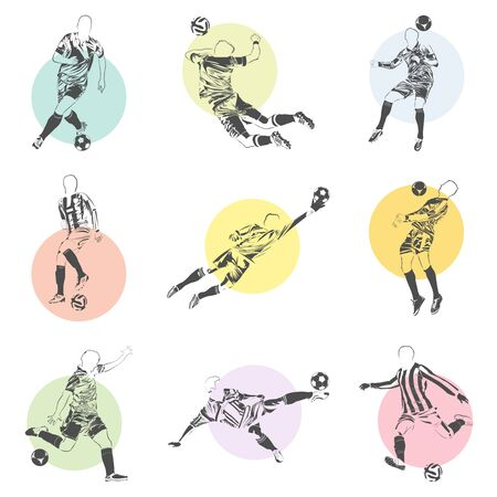 vector set of football (soccer) players illustrations icons with colorful poster elements on background Illustration