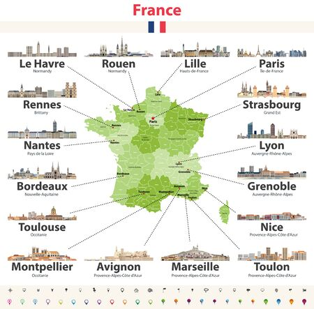 vector map of France with main cities on it. French cities skylines detailed icons Illustration
