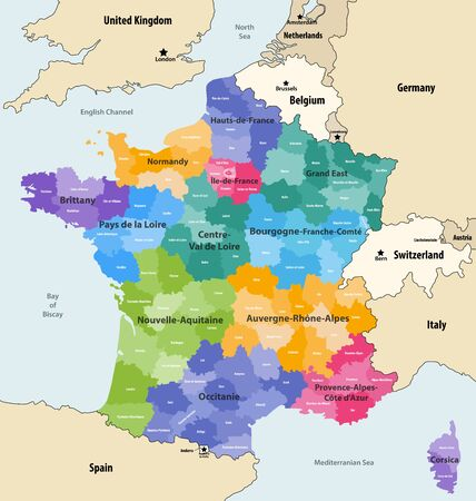 France administrative regions and departments vector map with neighboring countries and territories Illustration