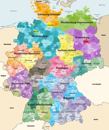Germany high detailed vector map with neighboring countries and territories. Map colored by states and administrative districts, with subdivisions