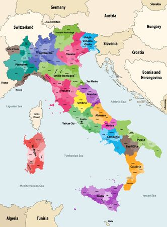 Italy provinces colored by regions vector map with neighboring countries and territories