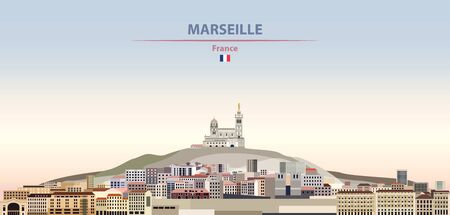 Vector illustration of Marseille city skyline on colorful gradient beautiful daytime background