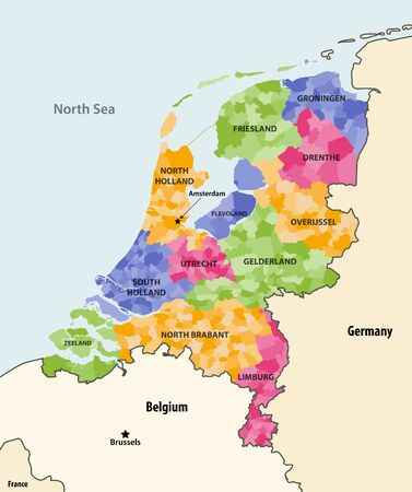 Netherlands local municipalities colored by provinces map with neighboring countries and terrotories. Vector