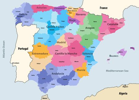 Spain autonomous communities and provinces vector map with neighboring countries and territories
