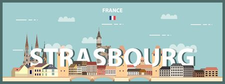 Strasbourg cityscape colorful poster. Vector detailed illustration