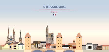 Vector illustration of Strasbourg city skyline on colorful gradient beautiful daytime background Vektorgrafik