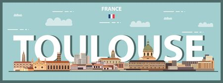 Toulouse cityscape colorful poster. Vector detailed illustration Vettoriali