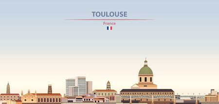 Vector illustration of Toulouse city skyline on colorful gradient beautiful daytime background Illusztráció