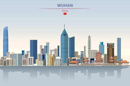 Vector illustration of Wuhan city skyline on colorful gradient beautiful daytime background