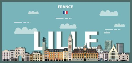 Lille cityscape colorful poster. Vector detailed illustration Ilustração