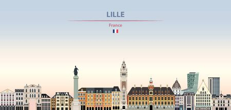 Vector illustration of Lille city skyline on colorful gradient beautiful daytime background