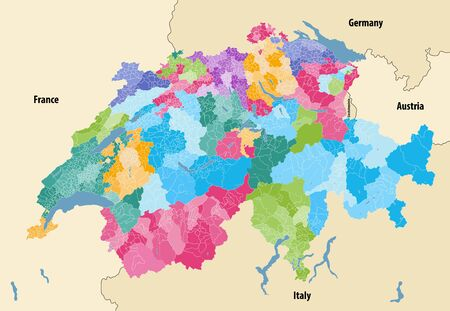 Switzerland vector map showing cantonal, districts and municipal boundaries, colored by cantons and inside each canton by distrcts. Map with neighboring countries and territories