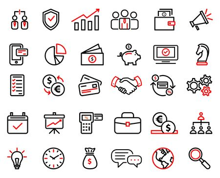 Collection of icons for business, finance, marketing. Vector isolated outline illustrations Stock Illustratie