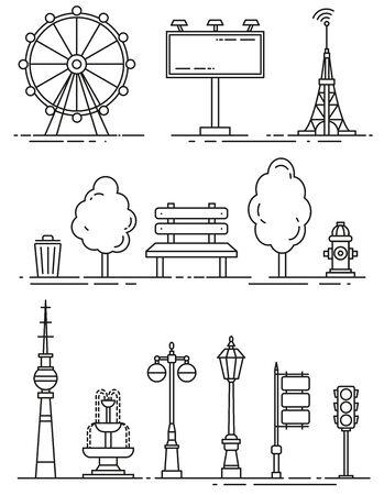 vector city elements outline isolated icons set Stock Illustratie