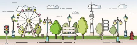 Park in the city concept vector flat style illustration