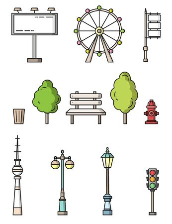 city elements flat style colorful vector icons