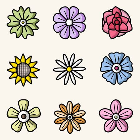 Vector set of flowers colorful flat style isolated icons