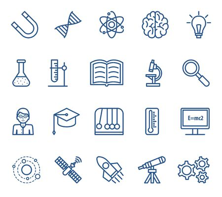 Science icons. Vector linear isolated illustrations collection