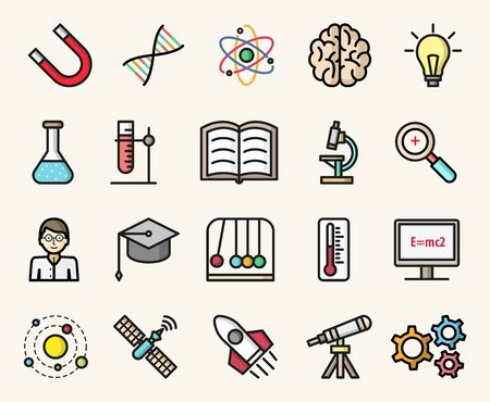 Science and education colorful icons. Modern flat design vector isolated illustrations set Stock Illustratie