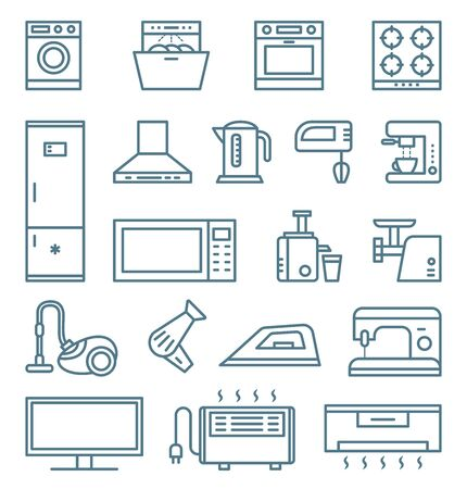 Home and kitchen appliances outline isolated icons