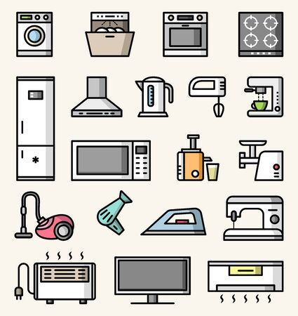 Home and kitchen appliances vector colorful icons set