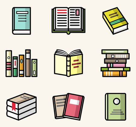 Bbooks' icons. Vector flat style colorful isolated illustrations set Stock Illustratie