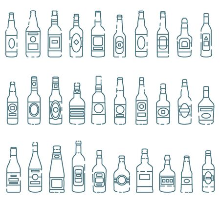 Set of colored icons of alcoholic drinks' bottles. Vector isolated outline illustrations