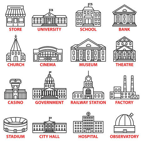 Government buildings icons set. Vector isolated outline illustrations