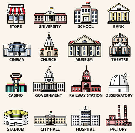 Government buildings icons set. Vector isolated colorful flat style illustrations Stock Illustratie