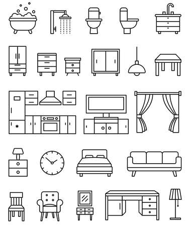 Interior objects outline isolated icons vector set