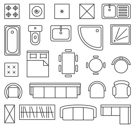 Vector set of outline isolated interior design floor plan objects icons Stock Illustratie