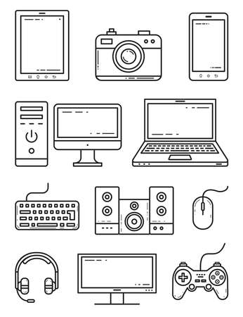 Devices and gadgets outline isolated icons vector set